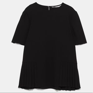 Zara Black Pleated Hem Blouse XXL